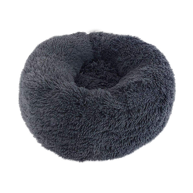 Shag Fur Donut Cuddler Round Cat Dog Cushion Bed Orthopedic Relief Self-Warming Cozy Luxury Pet Dog Bed Wholesale