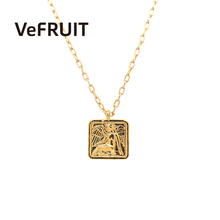 VeFruit Vintage Square Seal Necklace costume coin jewelry accessories chic 2020 fashion trendy insinitial necklace