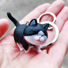 3D Fashion Cute Resin Lucky fat black Cat Pendant Key Rings Pet Key Chain Car Bag Keychains Charms Women Girl Jewelry Gift