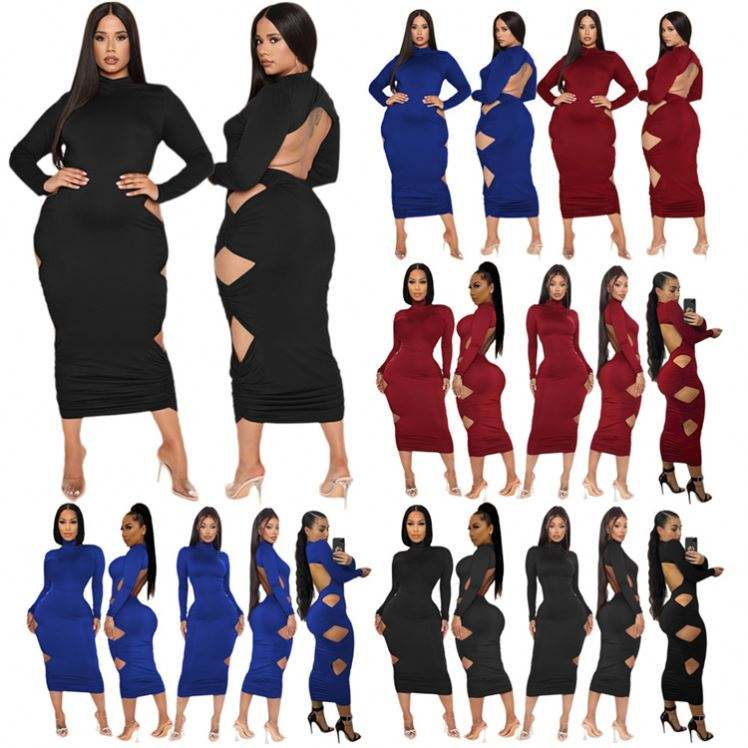 D96385 Best Seller 2021 Winter Long Sleeve Hollow Out High Collar Womens Dresses Women Lady Elegant Sexy Dress