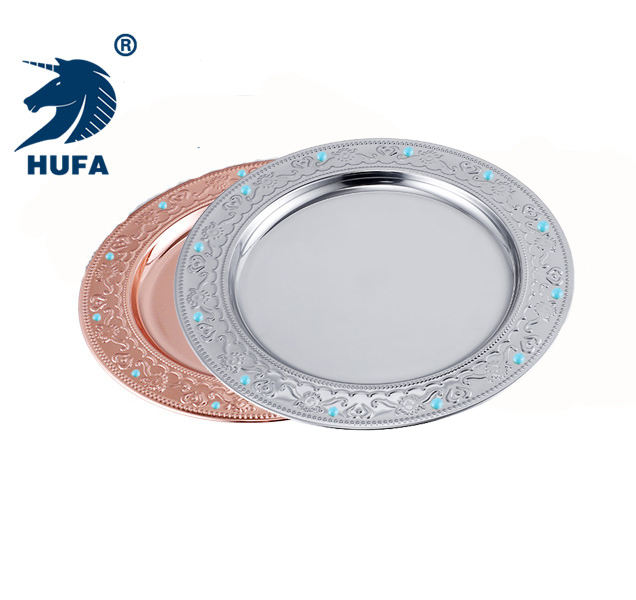 9.5 inch/10 inch/11 inch royal plate diamonds metal disposable stainless steel dish silver plate charger