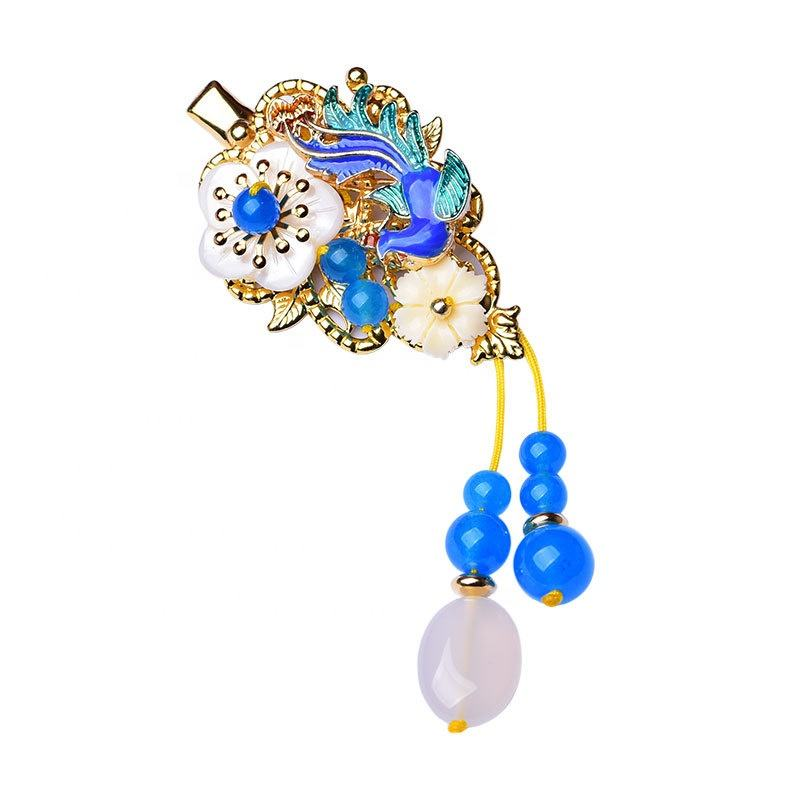Chinese blue phoenix shell clip costume vintage ethnic style hairpins