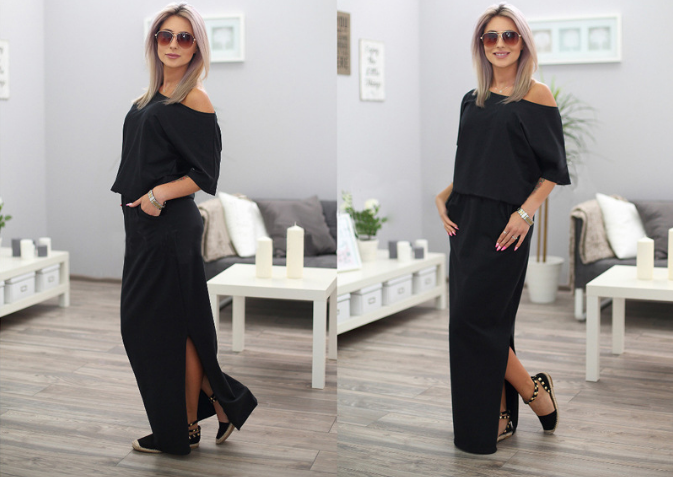 Princess sleeve loose side slit pockets summer 2020 women's long maxi dress