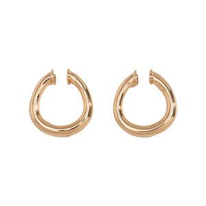 Fashion Simple Minimalist Vintage 18K Gold High Polish U Shaped Clip on Earrings for Elegant Girls