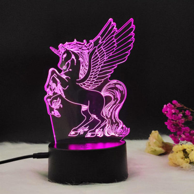 Clock Changing Dimmable Kids Wall Socket Making Machine Led 3d Optical Illusion Unicorn Night Light Table Lamp