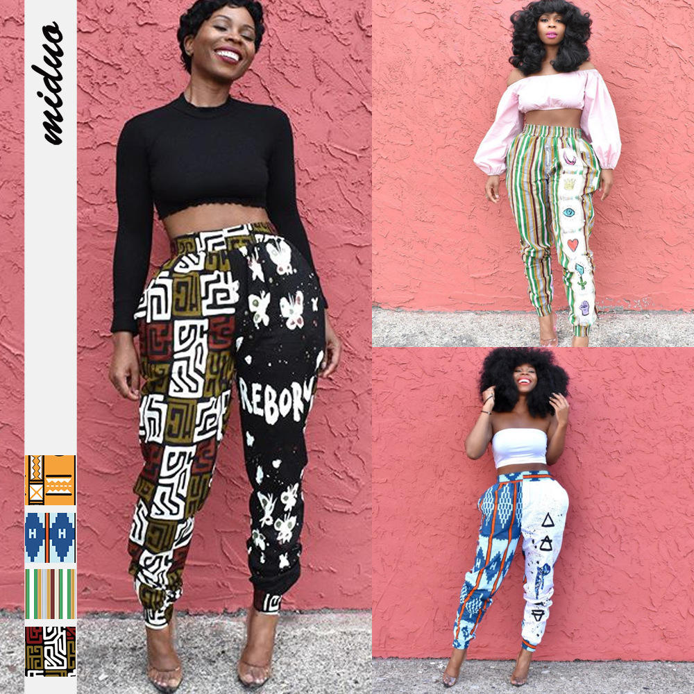 Africa Hot New Product Digital Printing Women's Stretch Waist Cropped Pants Casual Indonesian Fashion Harem Pants