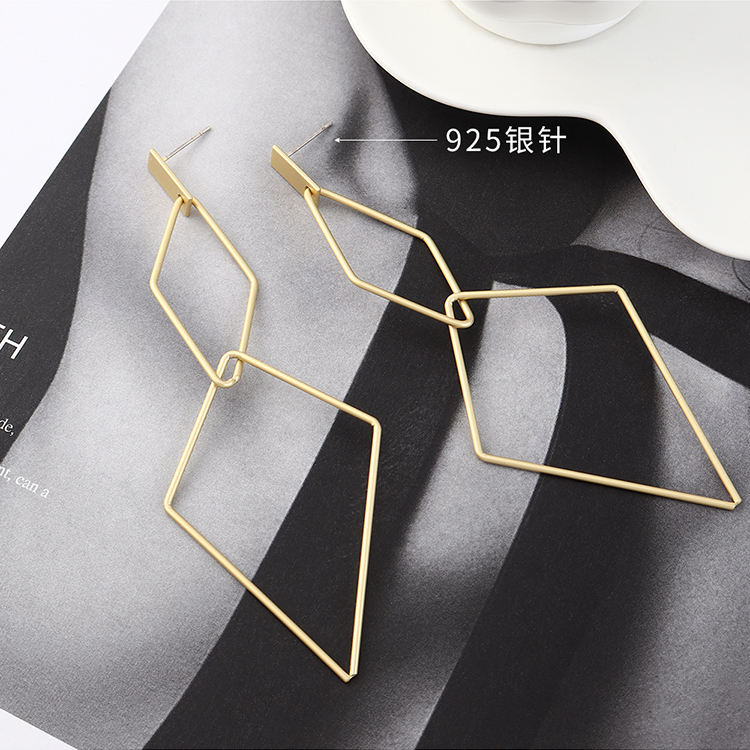 Minimalist 925 Sterling Silver Jewelry Fashion Geometric Dangle Statement Earrings For Women