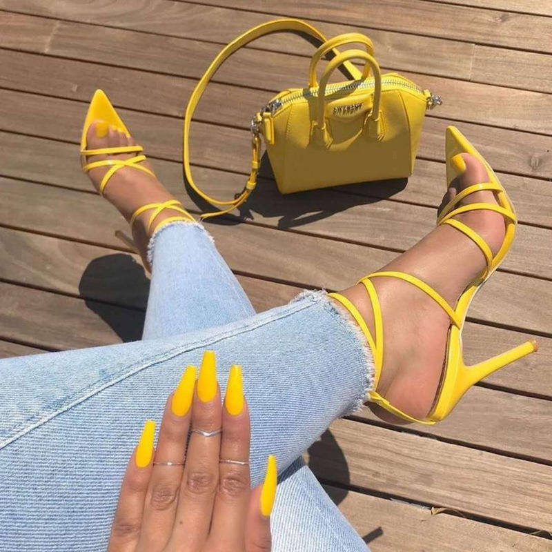 Women Sexy Yellow Sandals Ladies Sandals Summer New Pointed Fish Mouth Cross Stilettos Sharp Point Toe 11.5cm heels