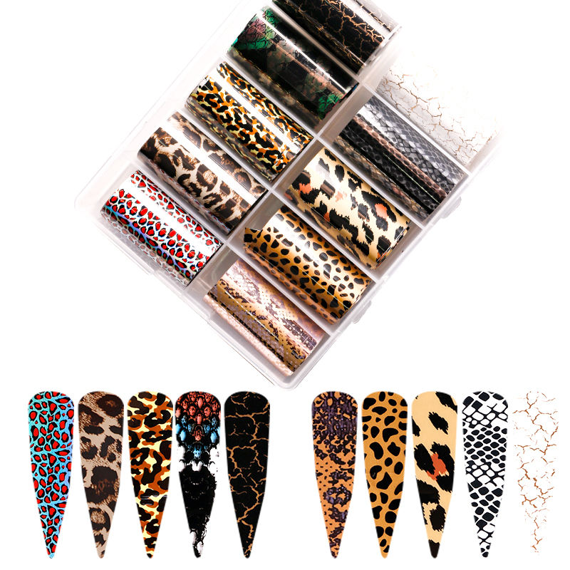 Marble Leopard Brands Series Transfer Foils DIY Nail Art Transfer Sticker Decals Logo Nail Foil