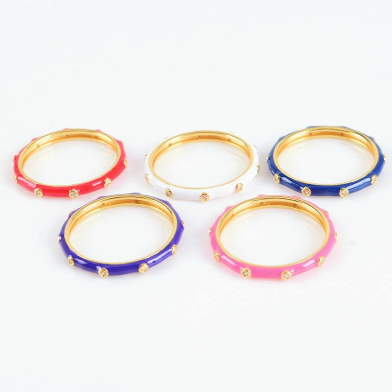 Delicate Stacking Multicolor Enamel Ring Rainbow Colorful 925 Silver Women Enamel Ring