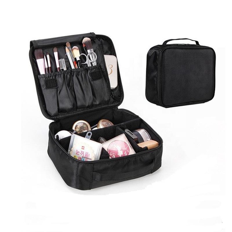 Hot Sell Fashion Custom Bulk Polyester Ziplock Organizer Recycled Black Makeup Toiletry Cosmetic Bag&Case