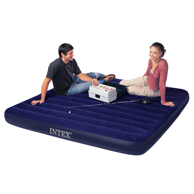 Hot sell good quality Deluxe striped flocking double queen air mattress inflatable air bed 152cmX203cmX25cm