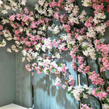 High Quality 1.6m Artificial Cherry Blossom Wedding Tree Plastic Fake Flower Rattan Flower Window Living Room Wall Decoration