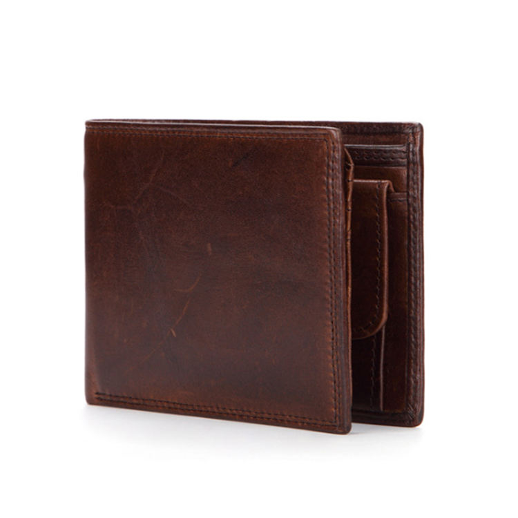 Hot sale custom vintage high quality leather wallet for men,design multi-card position soft short coin wallet