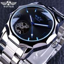 Winner blue transparent skeleton relojes men's watch top brand luxury automatic Mechanical Watches Wholesale Hot selling Import