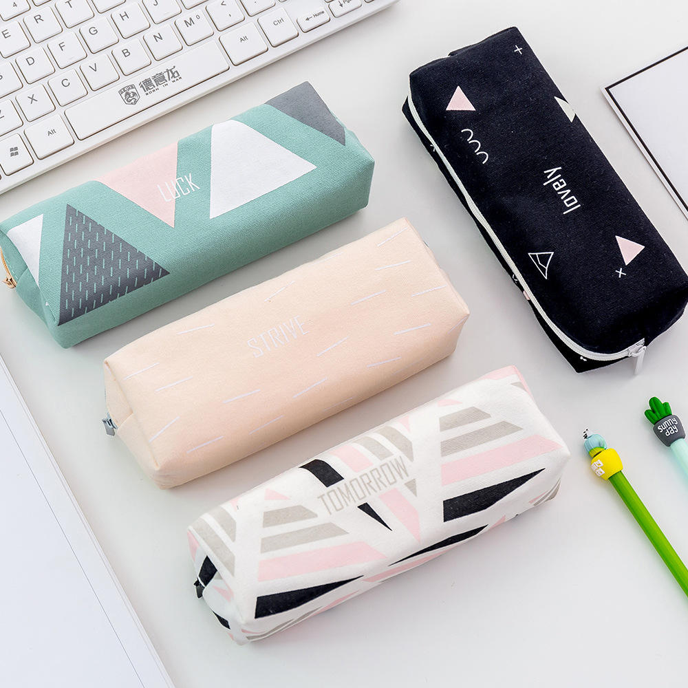 Creative student stationery Fresh and fashionable geometric series large capacity canvas pencil case