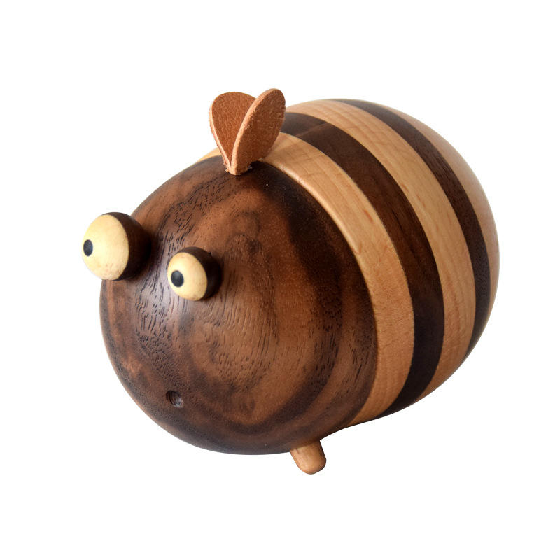 Home use funny solid wooden creative cute decoration Jar bee toothpick holder