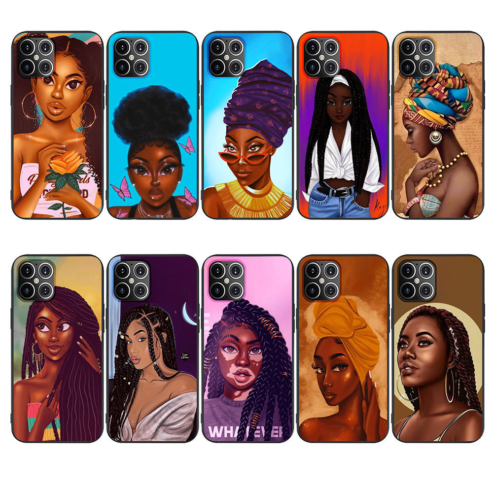 Cartoon painting black girls Matte Soft TPU Mobile Phone Case Cover For iPhone 12 pro max