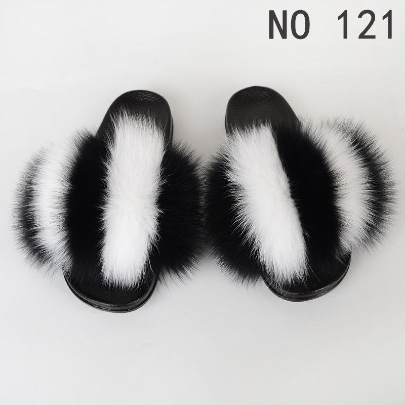 Popular china wholesale factory made girls slippers flat sandals real fox fur slides wide varieties custom private label