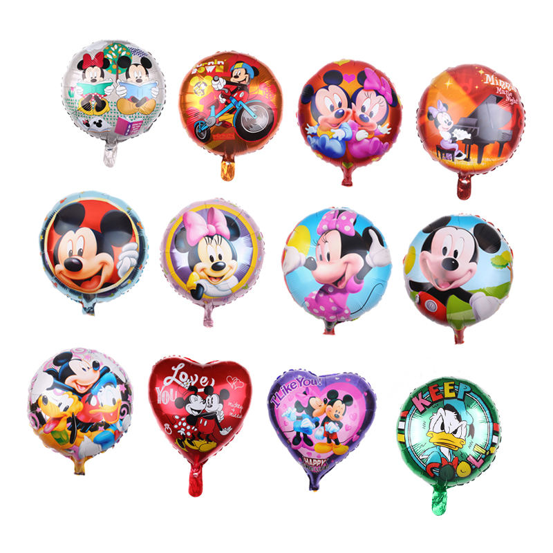18inch heart round shape Mickey Mouse donald duck foil balloons Mickey Minnie cartoon helium balloon for kids toy