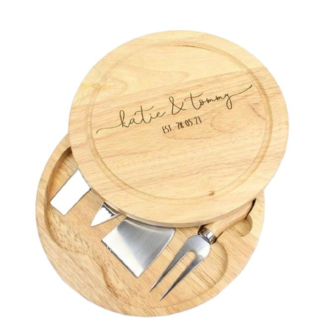 Hot sale high quality custom Round Bamboo folder cheese board set with knife wholesale