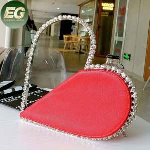 LEB1336 2020 fancy clutch purses diamond crystal women clutch bags heart shape evening bag
