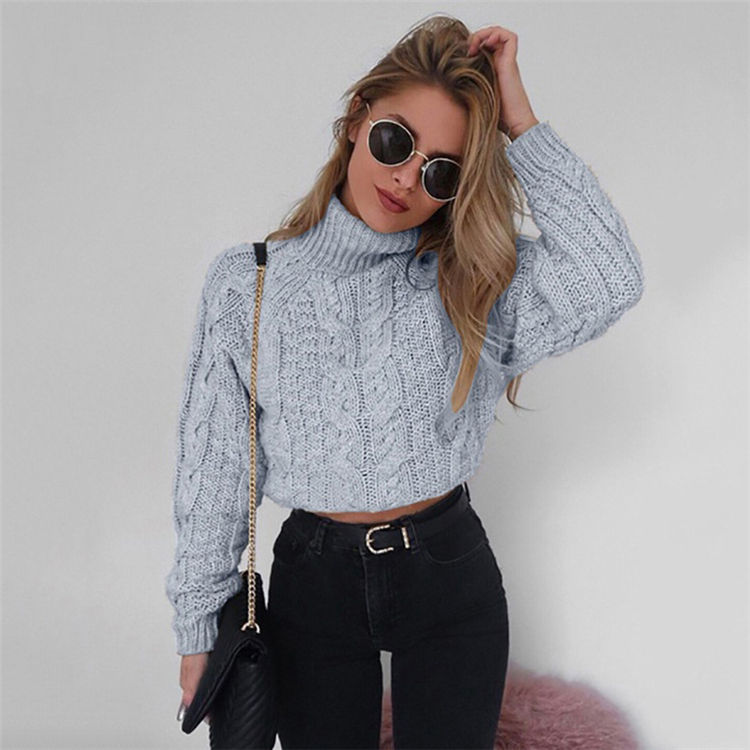 Winter Fashion Knitted Cashmere show belly Turtleneck Women Crop Pullover Woman Sweater