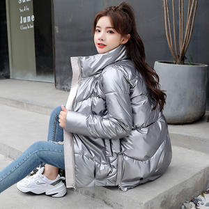 2019 Women's Winter Plus Size Down Coats Lady Short Bubble Puffer PU Coat