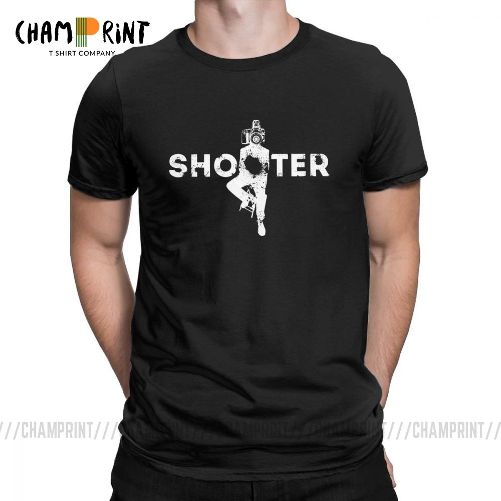 Shooter The Photographer Men's T Shirts Vintage Tee Shirt Short Sleeve Crew Neck T-Shirt Pure Cotton Summer Clothing