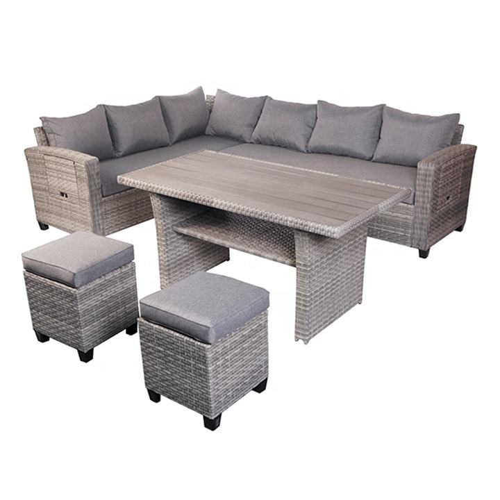 OUTDOOR PATIO 5PCS GARDEN RATTAN SOFA SET