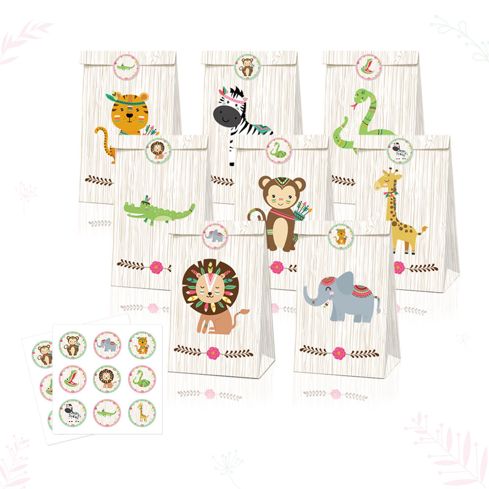 LB019 <span class=keywords><strong>24</strong></span> PCS Jungle Animals Theme Goody Bags Party Favors Tasche Kraft papier Geschenkt üte Aufkleber für Kinder Geburtstags feier zubehör