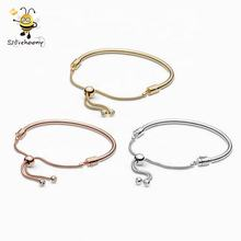 Wholesale Fashion 925 Sterling Silver Jewelry Slide Accessories Shine Sliding Bangle Bracelets