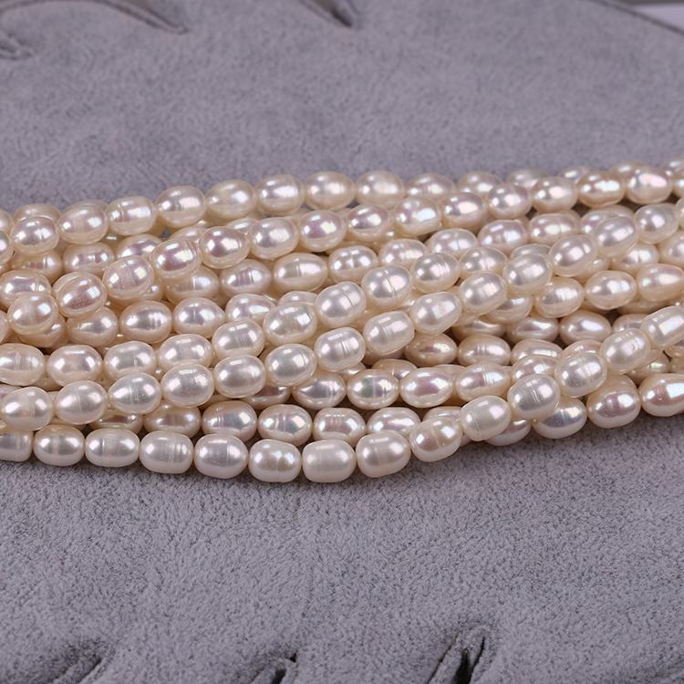 High Quality 8-9mm Natural Freshwater White Rice Oval Shaped Loose Pearl Beads Sold by the Strand