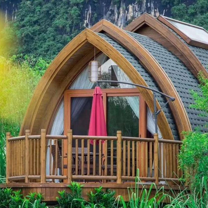 Prefabricated wooden mini hotel house arched shape boathouse