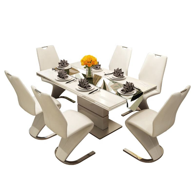 Modern style wooden dining tables and chairs set for dining room modern Tempered glass extending square dining table set 6 chair