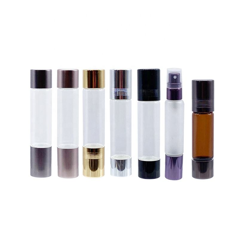 LANJING 10ml orifice reducer double finished glass vial for essential oil bottle with with roll on and Spray