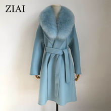 High quality 100% wool cashmere woolen coat ladies plus size  long wool winter coat wool coat with fur