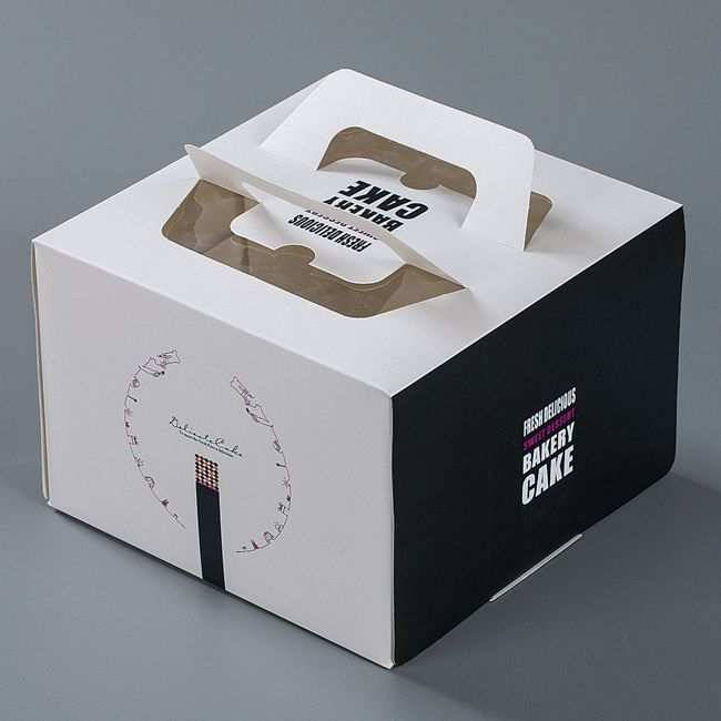custom recycle food grade dessert cake box packaging with handle