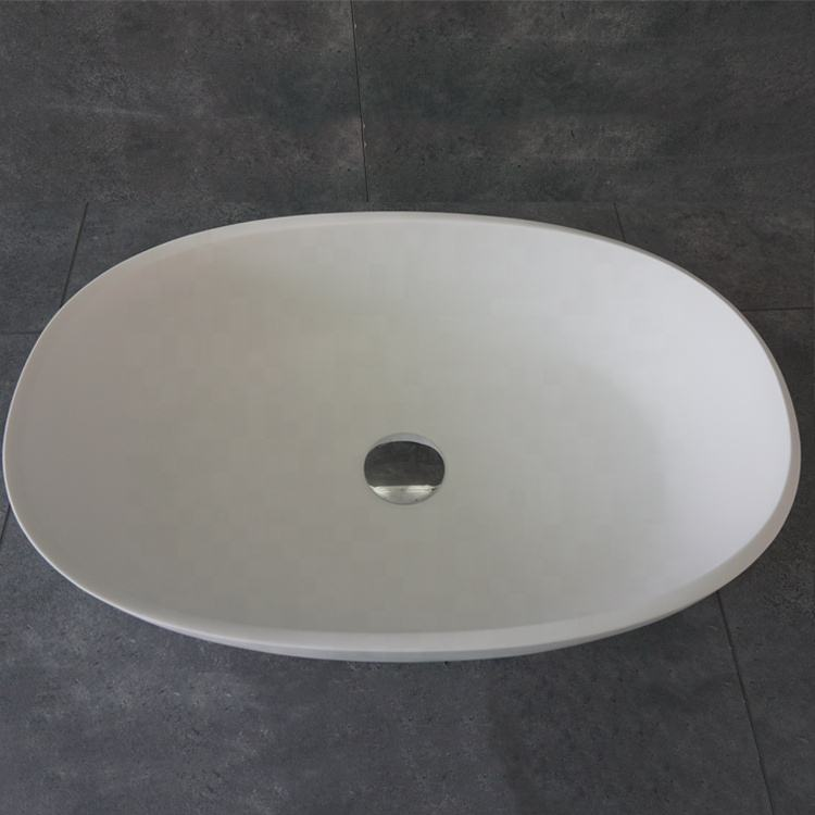 FW-2230 Bathroom white matt artificial stone wash basin bathroom cabinet basin slender edge hotel project