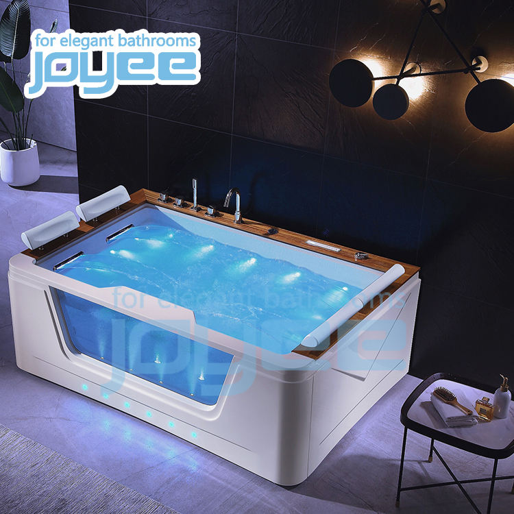 JOYEE indoor hot tub jacuzzi function acrylic 2 4 person square portable bathtub whirlpool air massage freestanding SPA bath tub