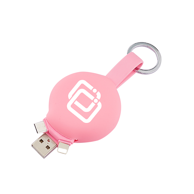 Top Kwaliteit 3 In 1 Usb Silicon Ball Logo Aangepaste Data Sync Opladen Platte Usb-kabel Voor Iphone, sumsung, Huawei Telefoon
