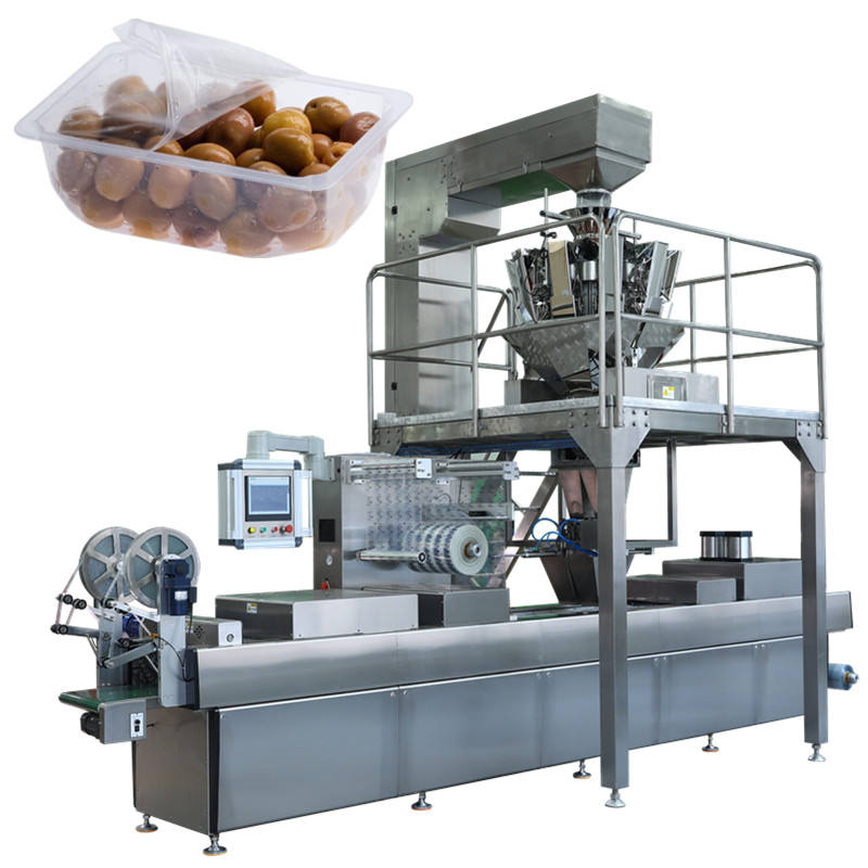 grain automatic rigid film thermoforming vacuum packing machine for dates cashew nut walnut dry fruit figs sweet food salt olive