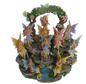 Art   Collectible Modern Sculpture Home Decor Fairy Figurines Resin on Waterfall Display Stand