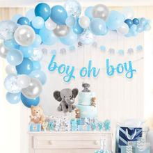 Baby Shower Blue Balloon Garland Arch Kit for Boy with Elephant Decorations Oh Boy Banner Party Decoration For Boy