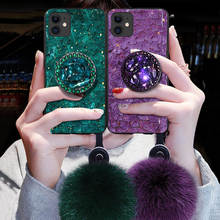 For iPhone 11 Case Bling Luxury Diamond Stand Plush Ball Fur Rope Strap Glitter Cover Case for iPhone 11 Pro Max