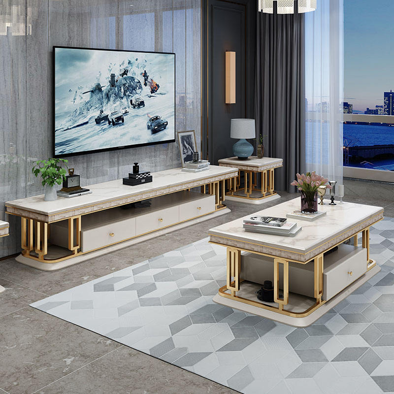 2021 Luxury furniture living room sets gold center table marble coffee tables and tv stand with storage drawer for sale foshan