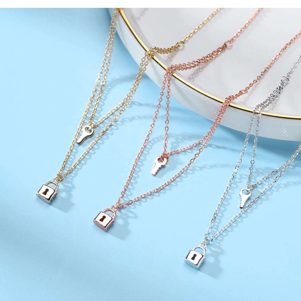 Multilayer 925 Sterling Silver Jewelry Multi Layer Lock And Key Chain Double Layered Pendant Necklace For Women