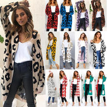 Ladies Autumn Long Knitted Leopard Print Sweater Women Large Outwear Coats Oversized Long Sweater Cardigan