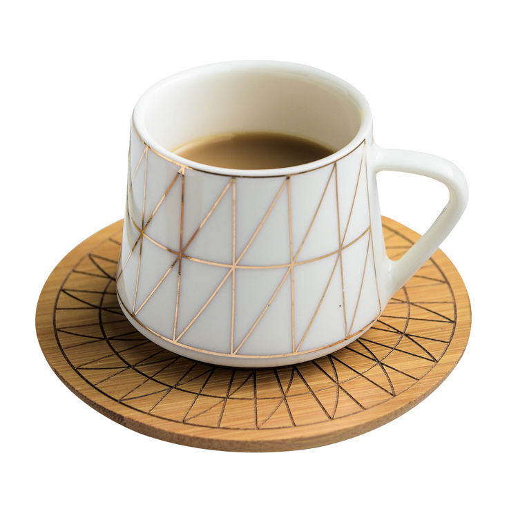 Creative Espresso Porcelain Coffee Tea Set Turkish Ceramic Cup and Saucer Set with wooden Saucer