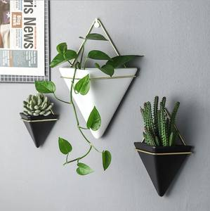 Home Decor Geometric White Ceramic Flower Succulent Wall Hanging Planter